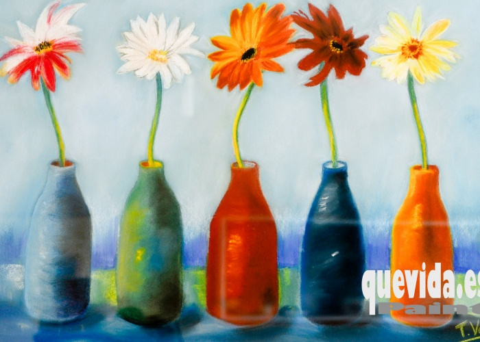 Título: Floreros  Técnica: Pastel  Dimensiones: 45 cm x 30 cm  Precio: