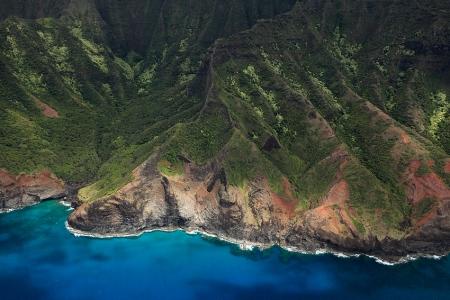 Na Pali Coast aerial view, Kauai, Hawaii, May 2012.