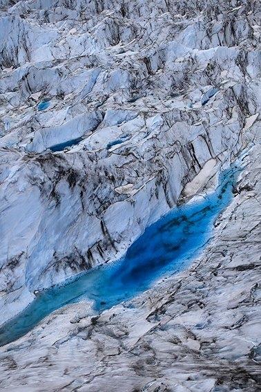 Aerial view of Colony Glacier, Alaska, June 2010.