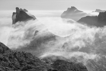 Pollensa mountains shrouded in mists in the morning. Tramuntana mountains, Majorca