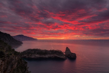 Sunset over la Foradada peninsula. Northern coast, Majorca