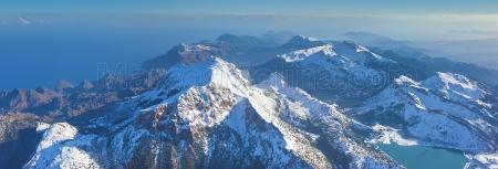 Central area of Tramuntana mountains after a polar storm, Majorca