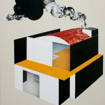 Factory home / Acrylic on canvas on wood plate and methacrylate  / 120x90x5 cm