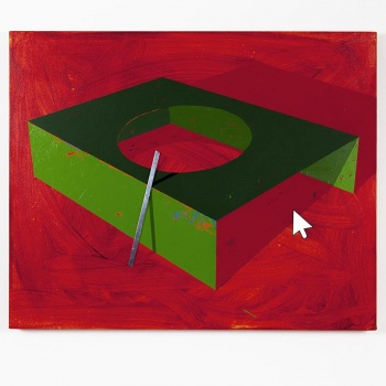 Green box with hole in light red background / Acrylic paint, wooden stick and metal tape / 77x62x5,5 cm