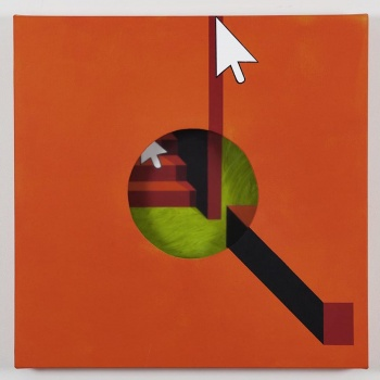 Hole in orange background / Acrylic painting, plexiglas and wooden box on the back / 50x50x5,5 cm