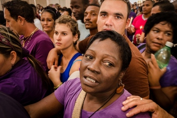 cubans into the church in a photography tour in havana