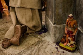 saint lazarus statue in El Rincon church