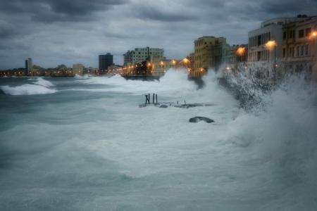 heavy storm in cuba malecon by louis alarcon