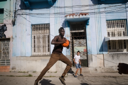 Multicolor children in Havana, playing in the streets