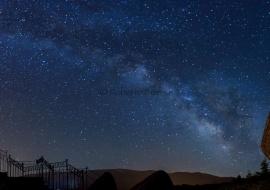 Panorámica y Vía Láctea. Peña de la Cruz. Reserva de la Biosfera de la Sierra de Béjar