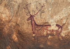 Deer cave painting. Sierra de Guara