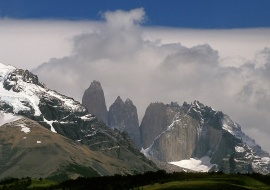 Orographical clouds. Torres del Paine. Patagonia