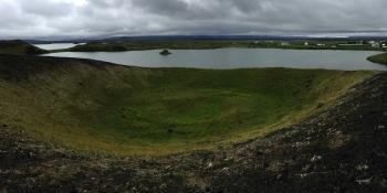PANORAMIQES DEL PSEUDO CRATERS DE SKUSTADAGIGAR  –  NORD D'ISLANDIA – VOLTANS DEL LLAC MYVATN