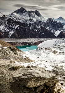 Gokyo Lake and glacier from Renjo La trail