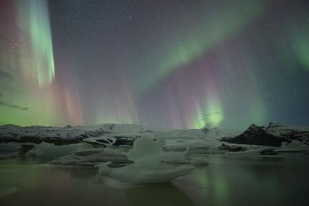 Islandia, Fjallsárlón Aurora Boreal