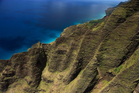 Na Pali Coast aerial view, Kauai, Hawaii, Mayo 2012.