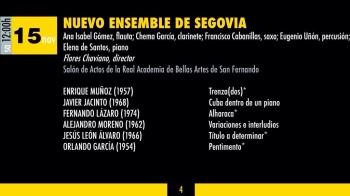 "Programa del XVI Festival Internacional de Música Contemporánea de Madrid (COMA). Estreno de mi obra ""Alharaca"". Noviembre 2014.."