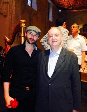 Con el compositor Tomás Marco compartiendo cartel del concierto ofrecido en la Capilla de San Ildefonso de la Universidad de Alcalá de Henares. Mayo 2015.