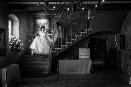 La novia llegando al Hall