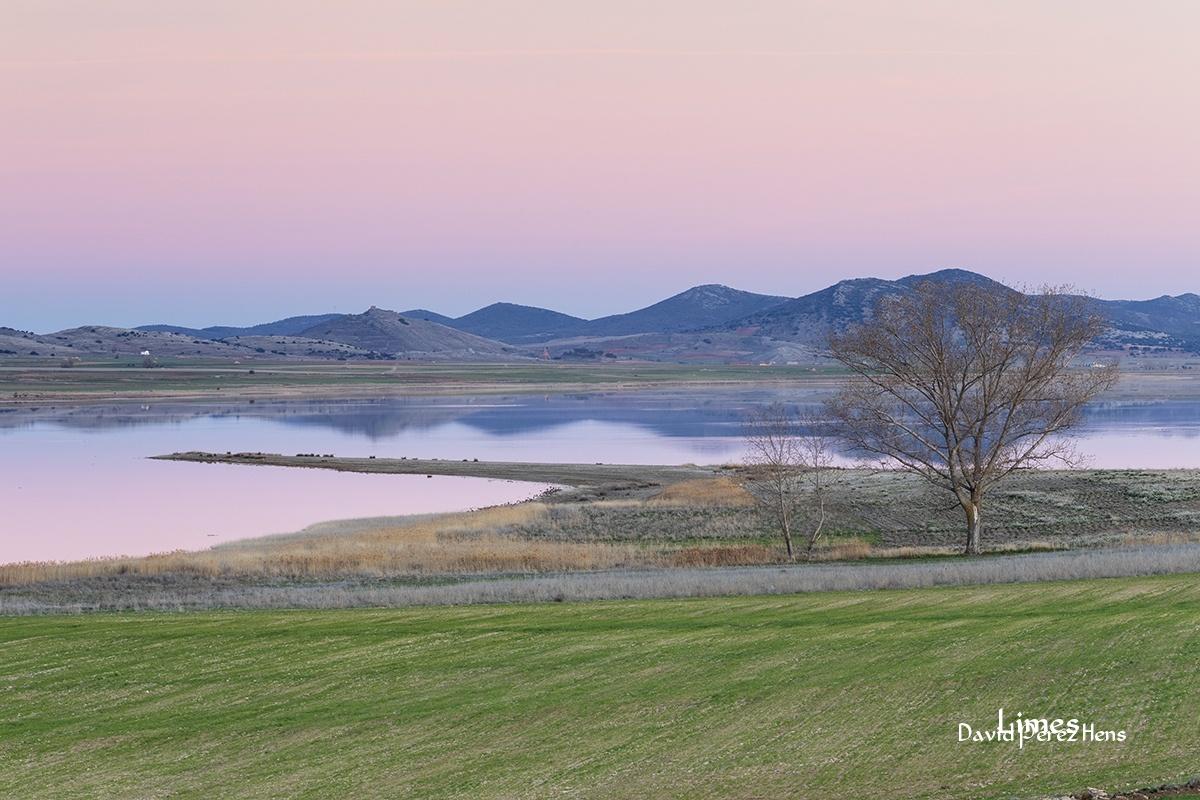 Atardecer junto a la laguna - Paisaje con grullas  - Limes , David Pérez Hens