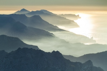 Tramuntana mountains and Deià coast in the evening, Majorca