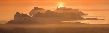 Pollensa and Formentor mountains. Voew at dawn from Tramuntana mountains, Majorca