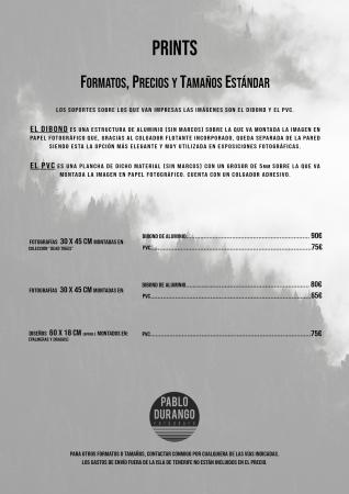 PRECIOS, FORMATOS Y TAMAÑOS ESTÁNDAR