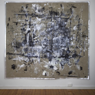 Exodus / 2020-21 /  Paint stains and wax pencils on canvas / 215x210 cm