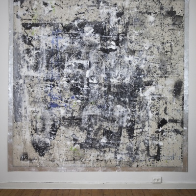 The other side of the mirror / 2020 / Paint stains and wax pencils on canvas / 210x210 cm
