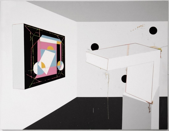 Sculpture and painting in a pop room exhibits / 2015 / Acrylic painting  on canvas  /  146x114 cm