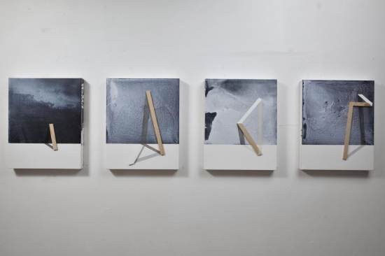 Ways to holding the landscape / 2015 /  Acrylic paint and wooden strip on canvas / 50x40 cm each