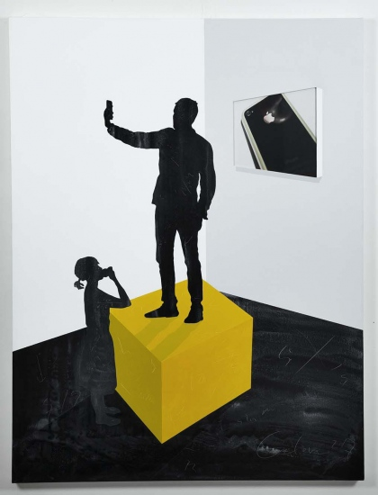 Narcissus Sculpture on yellow stand  /  2017 / Acrylic painting, plexiglass and photo on canvas  / 146x114x5,5 cm