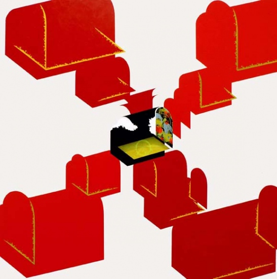 Red chests / 2005 / Acrylic on canvas on wood plate and methacrylate  / 120x120x5 cm