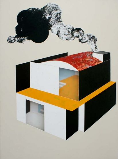 Factory home / 2007 / Acrylic on canvas on wood plate and methacrylate  / 120x90x5 cm