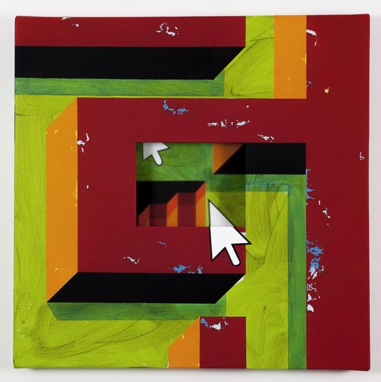 Red labyrinth with stairs / 2018 /Acrylic painting, plexiglas and wooden box on the back / 50x50x5,5 cm