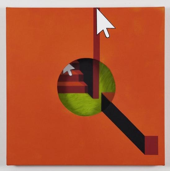 Hole in orange background / 2018 / Acrylic painting, plexiglas and wooden box on the back / 50x50x5,5 cm
