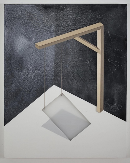 Domestic crane / 2016 / Acrylic painting, plexiglass, wooden strip and  and cardboard on canvas /  100x80 cm