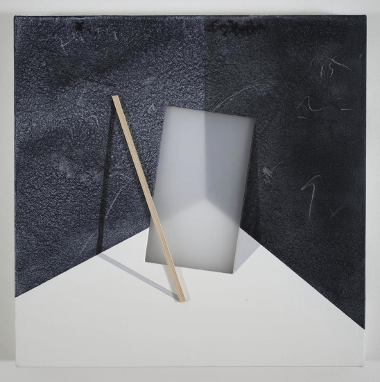 Wooden slat and Plexiglas sheet in a corner of a room / 2016 / Acrylic paint,  wooden strip and plexiglass  on canvas / 50x50 cm