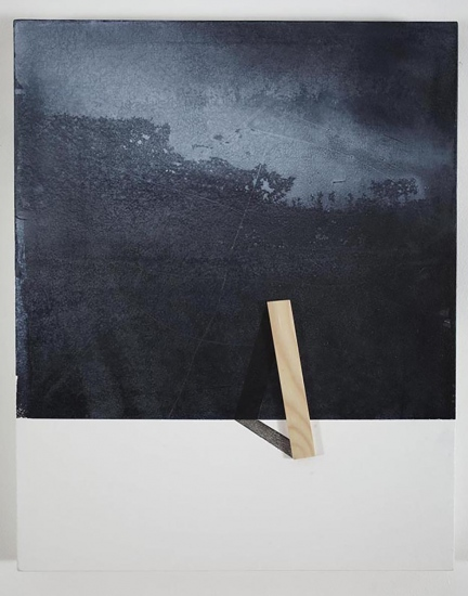 Ways to holding the landscape / 2015 /  Acrylic paint and wooden strip on canvas / 50x40 cm