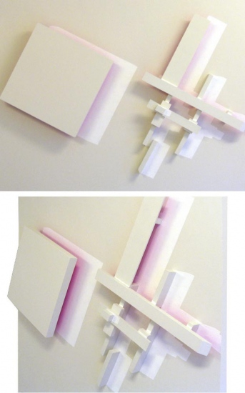 Floating structure  / Synthetic and fluorescent painting, wood  / 120x110x12 cm