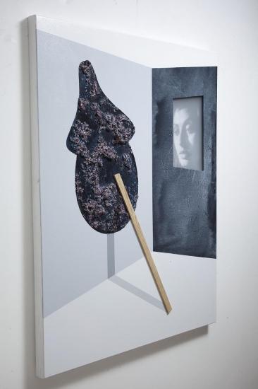 Pinocchio and Sofia / 2017 / Acrylic paint, wooden strip, plexiglass and polyurethane foam on canvas / 100,80 cm