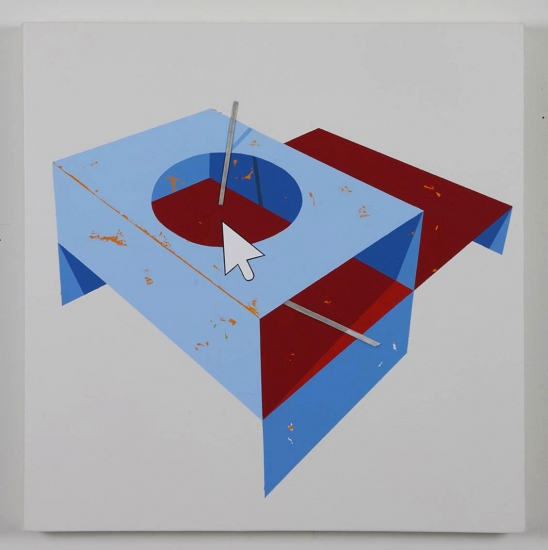 Blue shelving with top hole / 2018 / Acrylic painting, plexiglas and wooden box on the back / 50x50x5,5 cm