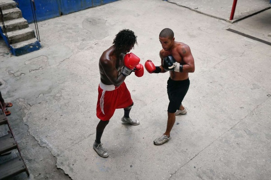 a couple of cuban boxers training. Rafael Trejo boxing gym