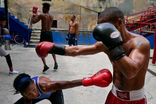 cuban female girl in havana training boxing gym