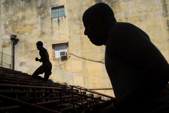 shadows of cuban boxers training in Rafael Trejo boxing gym