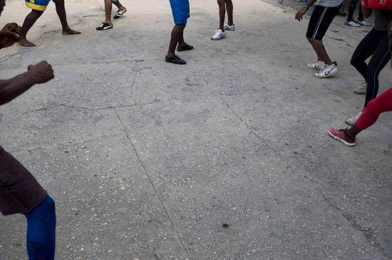 legs of boxers in havana in Rafael Trejo boxing gym