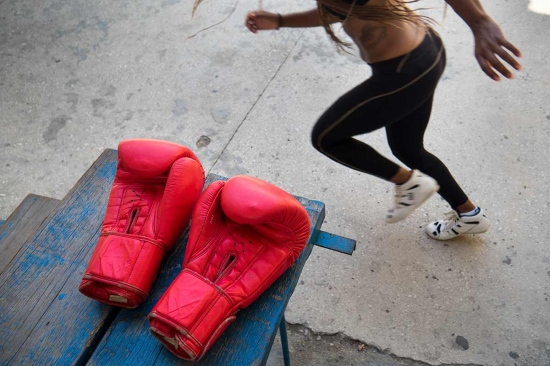 body of a cuban female boxer in Rafael Trejo boxing gym