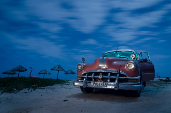 Old car in a beach of Cuba by master louis alarcon