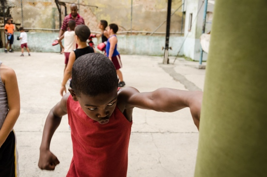 children training in a boxing gym in havana , cuba. Rafael Trejo boxing gym