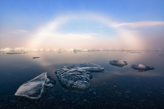 arcoiris, albino, islandia, glaciar, jökulsárlón, Hielo, iceland, ice, niebla, fog, pixelecta